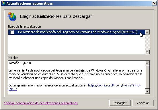 Herramienta de Notificación del Programa de Ventajas de Windows Original