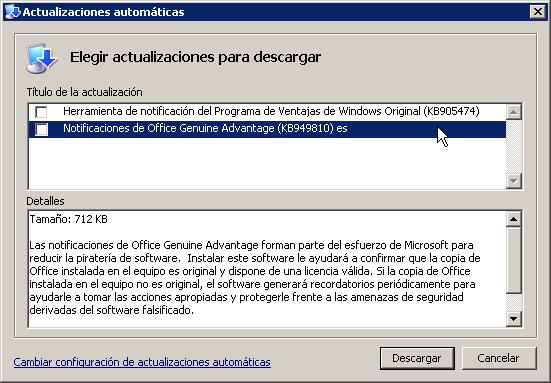 Notificaciones de Office Genuine Advantage